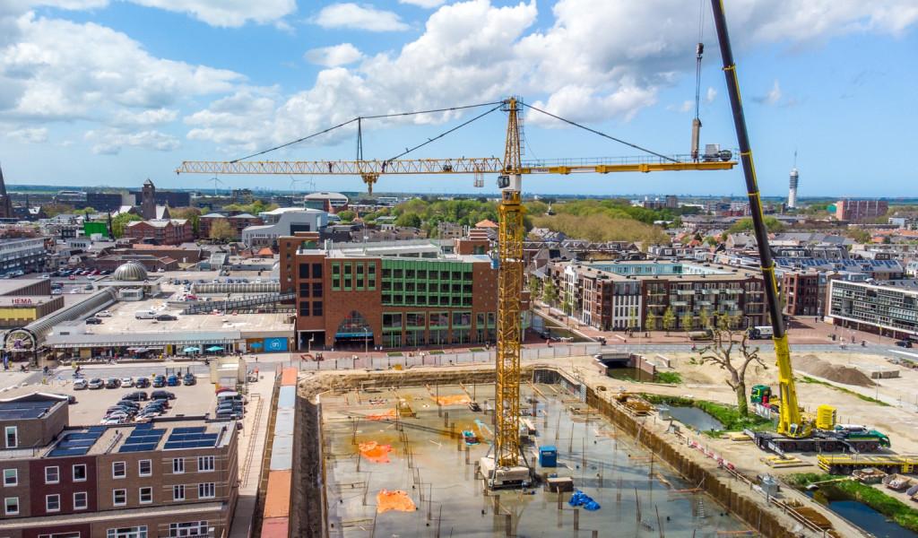 Veertig meter hoge bouwkraan geplaatst: bouw Aarkadekwartier fase 3 kan 'echt' beginnen